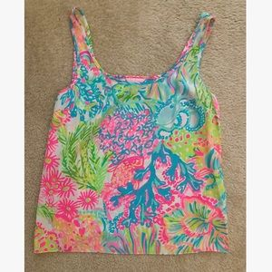 Lilly Pulitzer Cosmos Sleeveless 100% Silk Top